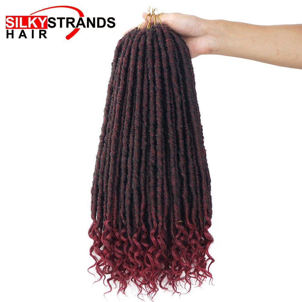 Soft Faux Locs Curly Crochet Braids Synthetic Hair Extension Crochet Hair Ombre Braids Goddess Hairstyle 18inch Silky Strands