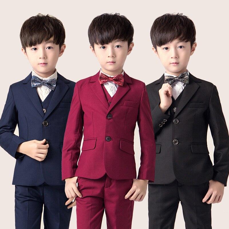Crianças Formal Vestido de Terno Define 3 pcs Flowwer Meninos Blazer + Colete + Pant Outfits Crianças Festa De Casamento Desempenho de Piano traje de acolhimento