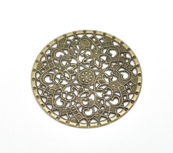Alloy Embellishments Findings Round Antique Bronze Flower Hollow Pattern 4.1cm(1 5/8) Dia, 6 PCs newAlloy Embellishments Findings Round Antique Bronze Flower Hollow Pattern 4.1cm(1 5/8) Dia, 6 PCs new