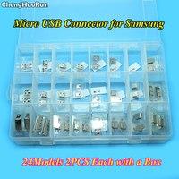 ChengHaoRan 24Models 48pcs Micro USB Jack Socket Connector For Samsung I9100 I9200 I9220 I9300 I8160 Note