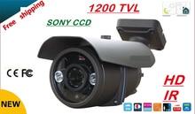 Free shipping 2016 NEW 1/3″ SONY CCD HD 1200TVL Waterproof Outdoor security camera 2 Pcs array led IR 80 meter CCTV Camera