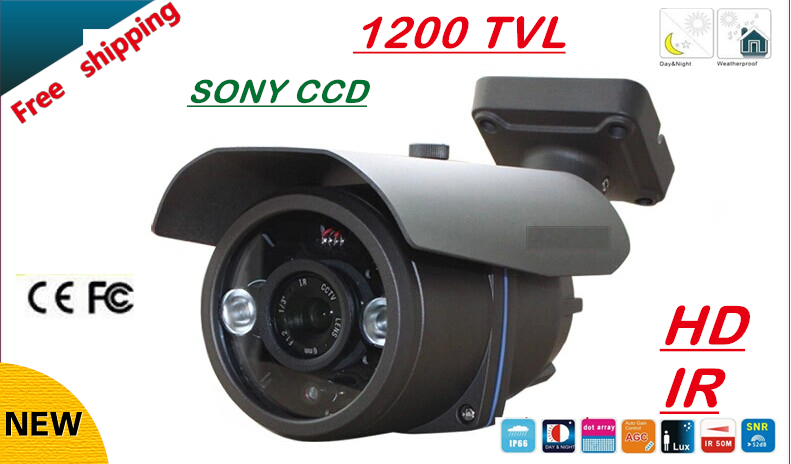 Free shipping NEW 1/3 SONY CCD HD 1200TVL Waterproof Outdoor security camera 2 Pcs array led IR 80 meter CCTV Camera free shipping new 1 3 sony ccd hd 1200tvl waterproof outdoor security camera 2 pcs array led ir 80 meter cctv camera