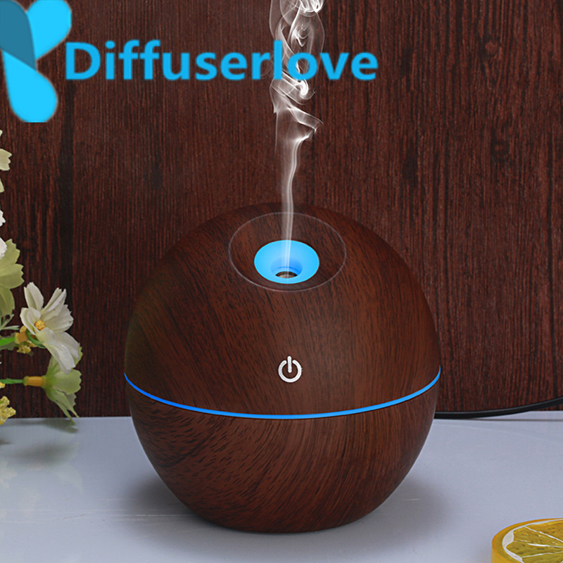 Diffuserlove 130ml  Air Humidifier USB Aromatherapy Essential Oil Diffuser Ultrasonic Aroma Mist Make With 7 Color LED Light aroma diffuser 130ml