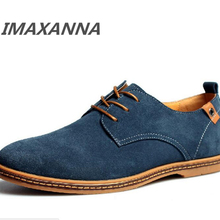 IMAXANNA new spring mens flats fashion men casual shoes lace up male suede oxfor
