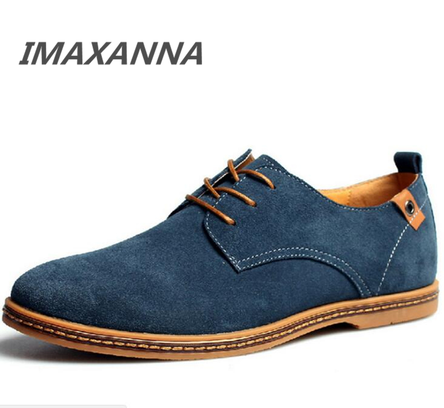 IMAXANNA New Spring Mens Flats Fashion Men Casual Shoes Lace Up Male Suede Oxfords Leather Shoes Zapatillas Hombre Size 38-48