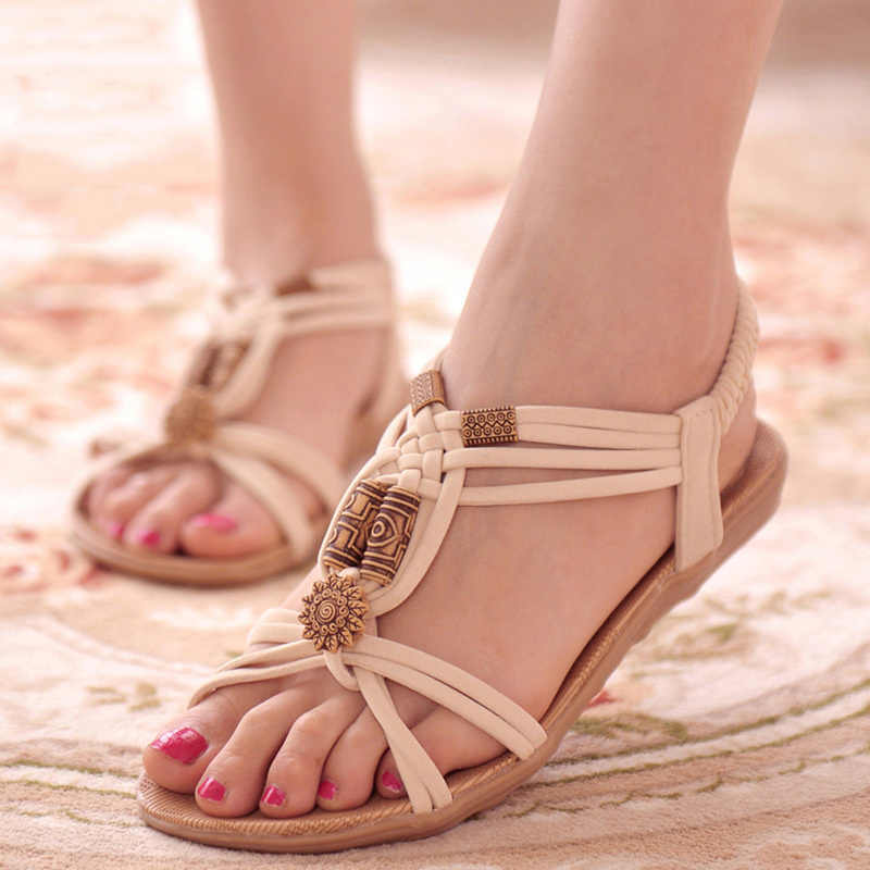 Sepatu Wanita Sandal Musim Panas Gladiator Bohemia Sandal Wanita Musim Panas Pantai Sepatu Sandal Wanita Mujer Sandalias Mujer 2019