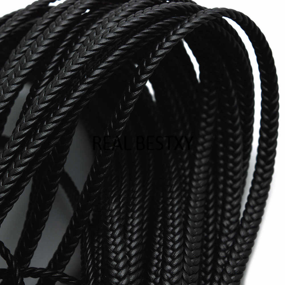 REAL BESTXY 1 Meter 8*3mm black braided leather strings flat for bracelets making black flat leather strips jewelry flat cord