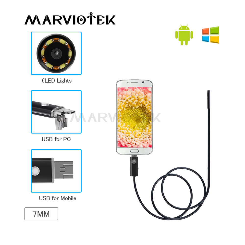 7mm USB Endoscópio endoscópio Câmera HD À Prova D' Água 2/5/10M Fio Tubo Cobra Inspeção Endoscópio Para O OTG Telefone Android Compatível