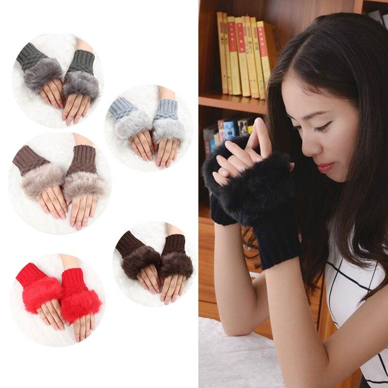 Pretty Faux Rabbit Hair Wrist Warmer Knitted Women Winter Fingerless Gloves FS99