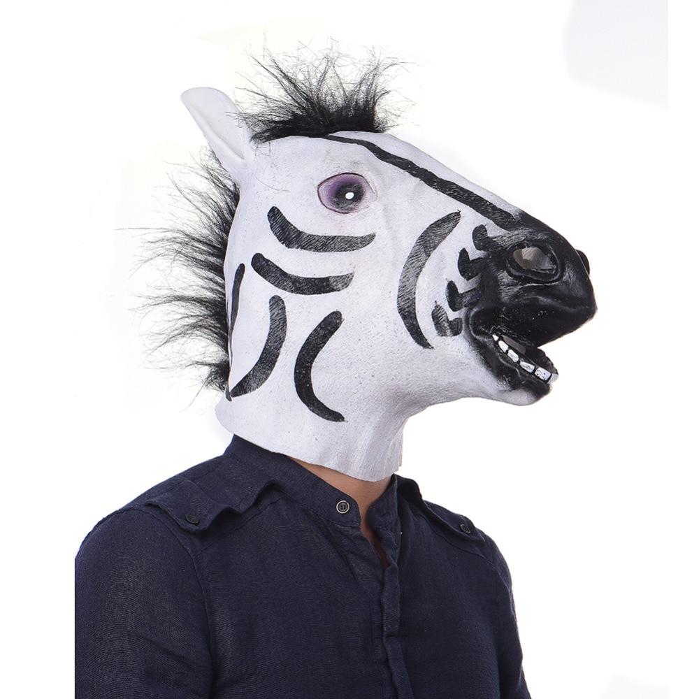 ฮาโลวีนหน้ากากหน้ากากM Asqueradeสัตว์ม้าลายม้าหน้ากากเต็มใบหน้าหัวน้ำยางพรรคหน้ากาก