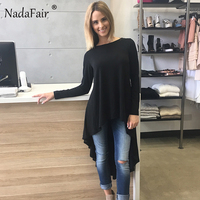 Nadafair Stretch Knitted Cotton O Neck Long Sleeve Drop Hem Casual Women Long T Shirts Black
