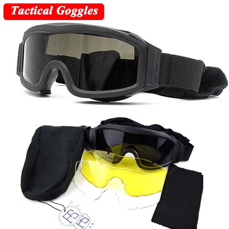 c570623bc82aaf Militaire Tactique Lunettes En Plein Air Paintball Airsoft Sport Wargame  Lunettes de Combat de L armée lunettes de Soleil 3 Lentille dans Randonnée  Eyewears ...
