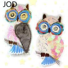 JOD Sequined and Beaded Large Owl Cloth Patches of Embroidery By Sewing DIY Applique  Sequin Bird for Clothing,jacket