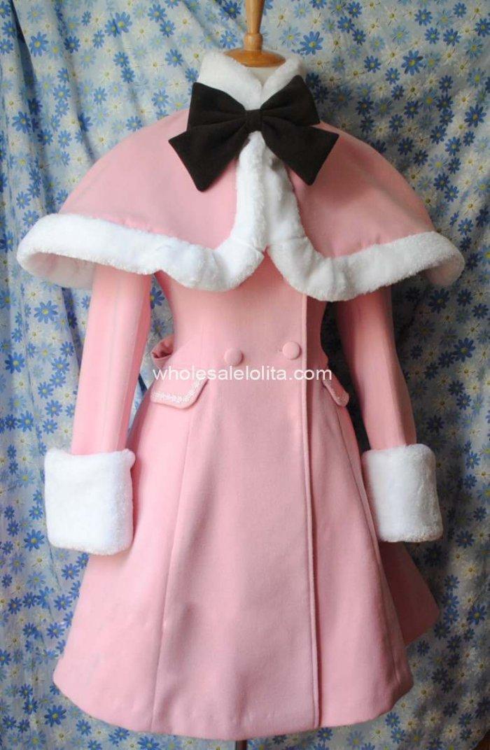 Настраиваемые розовые тонкие зимние шерстяные теплые пальто и накидка Лолита пальто готическая лолита шерсть 4XL 5XL 6 XLCoat