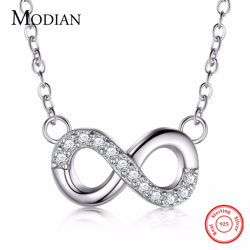 Modian solid 925 sterling silver infinite love pendant necklace modian solid 925 sterling silver infinite love pendant necklace fashion classic brand clear cz chain for women party jewelry in pendants from jewelry aloadofball Image collections
