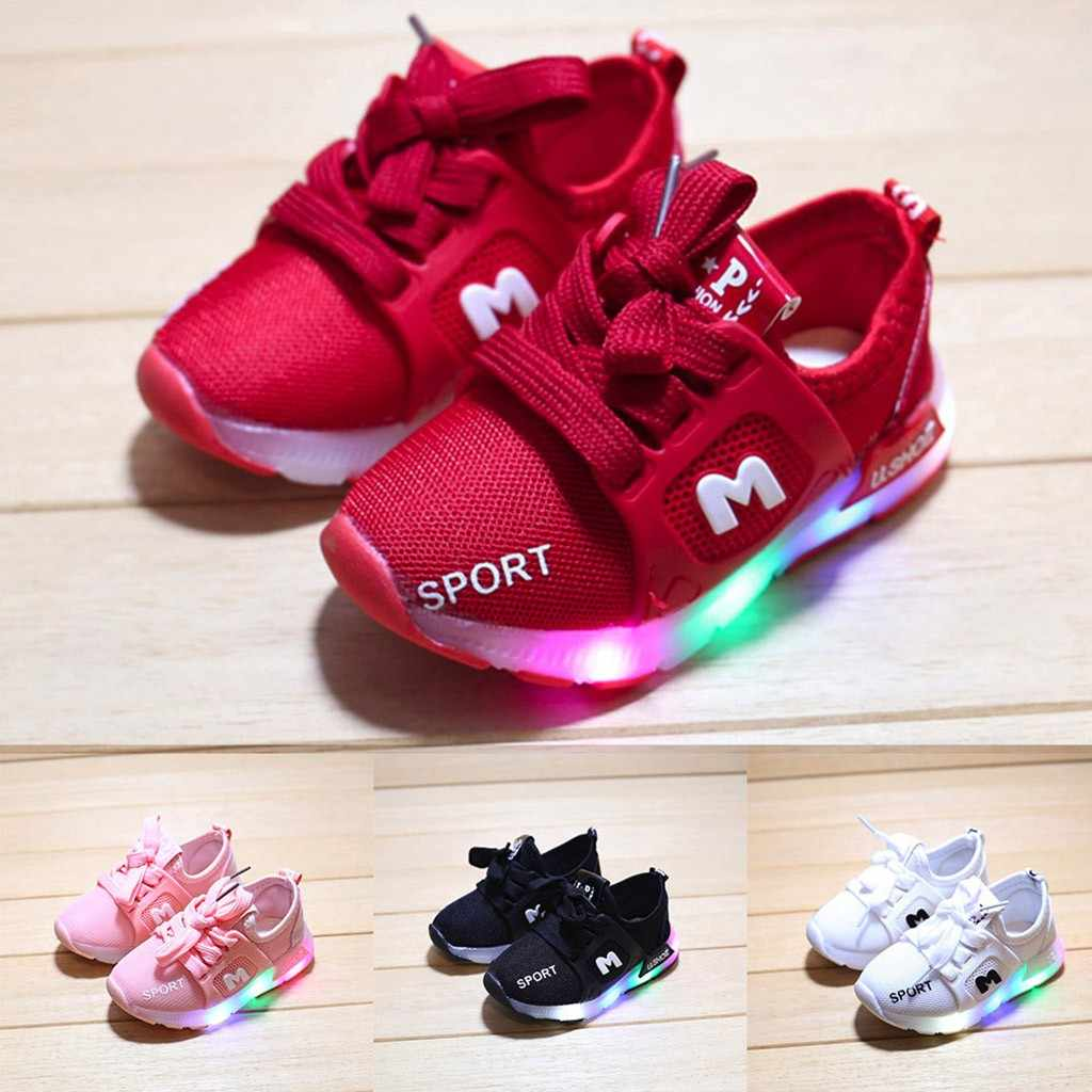 MUQGEW Children Girls Boys Shoes Toddler Infant Kids Shoes Letter Crystal Led Light Luminous Running Sport Shoes Sneakers 21-30