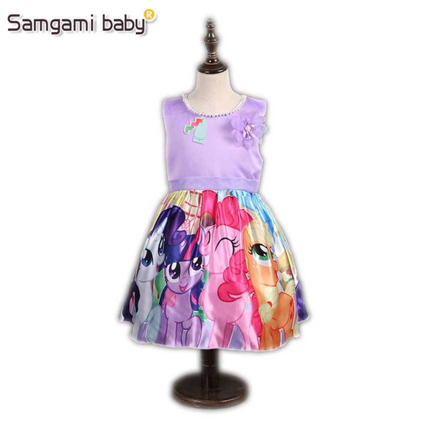 SAMGAMI BABY 2017 Children Kids Girl Dress Cartoon My Pony Princess Children's Dress Baby Clothes Costume Cartoon Kids Dress недорго, оригинальная цена