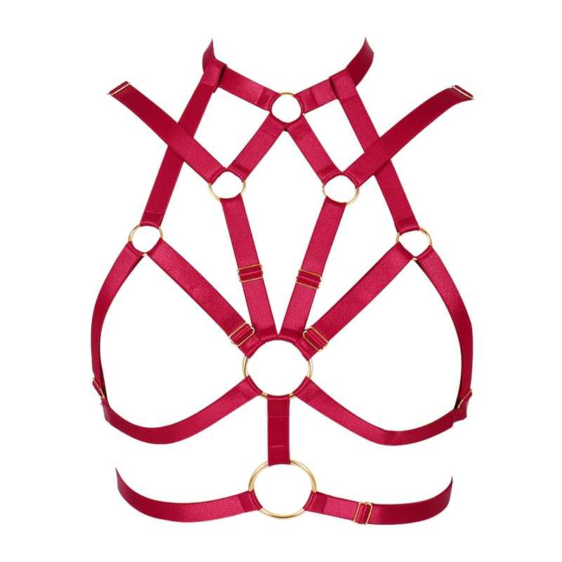 Red Harness Bra Sexy Women Full Lingerie Belt Plus Size Strappy Top Cage Pentagram Pastel Goth Punk Garter Belt Fashion Rave