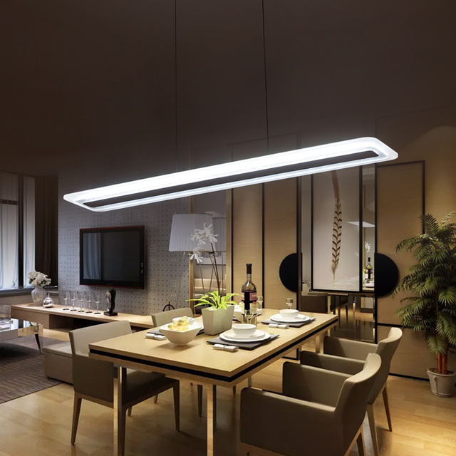 Trendy moderne led suspension lustre carr bande plexiglas for Luminaires pour cuisine suspension moderne