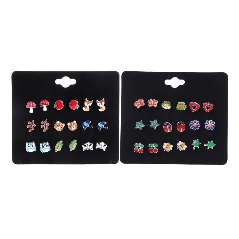 9 Pairs/1Set Cute Small Animal Fruit Fox Butterfly Stud Earrings Set For Kids Girls-M15