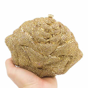 Boutique De FGG Shiny Bling Gold Crystal Women Flower Evening Bags Wedding Party Bridal Diamond Floral Handbag Clutch Purse