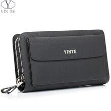 YINTE Men's Clutch Bags Leather Men Wrist Bags Clutch Handbag Organizer Wallet Phone Purses Card Holder Men's Black Bag T030-2