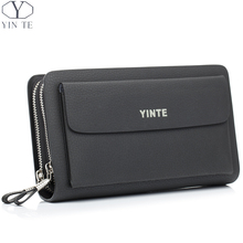 YINTE Men's Clutch Bags Leather Men Wrist Bags Clutch Handbag Organizer Wallet Phone Purses Card Holder Men's Black Bag T030-2
