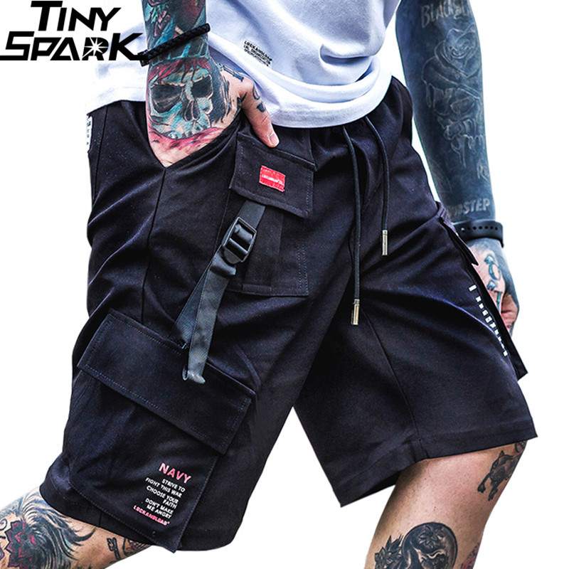 2019 Hip Hop Cargo   Shorts   Pocket Men Harajuku   Short   Joggers Streetwear Tatical Military   Short   Baggy Casual Black Ribbon Hipster