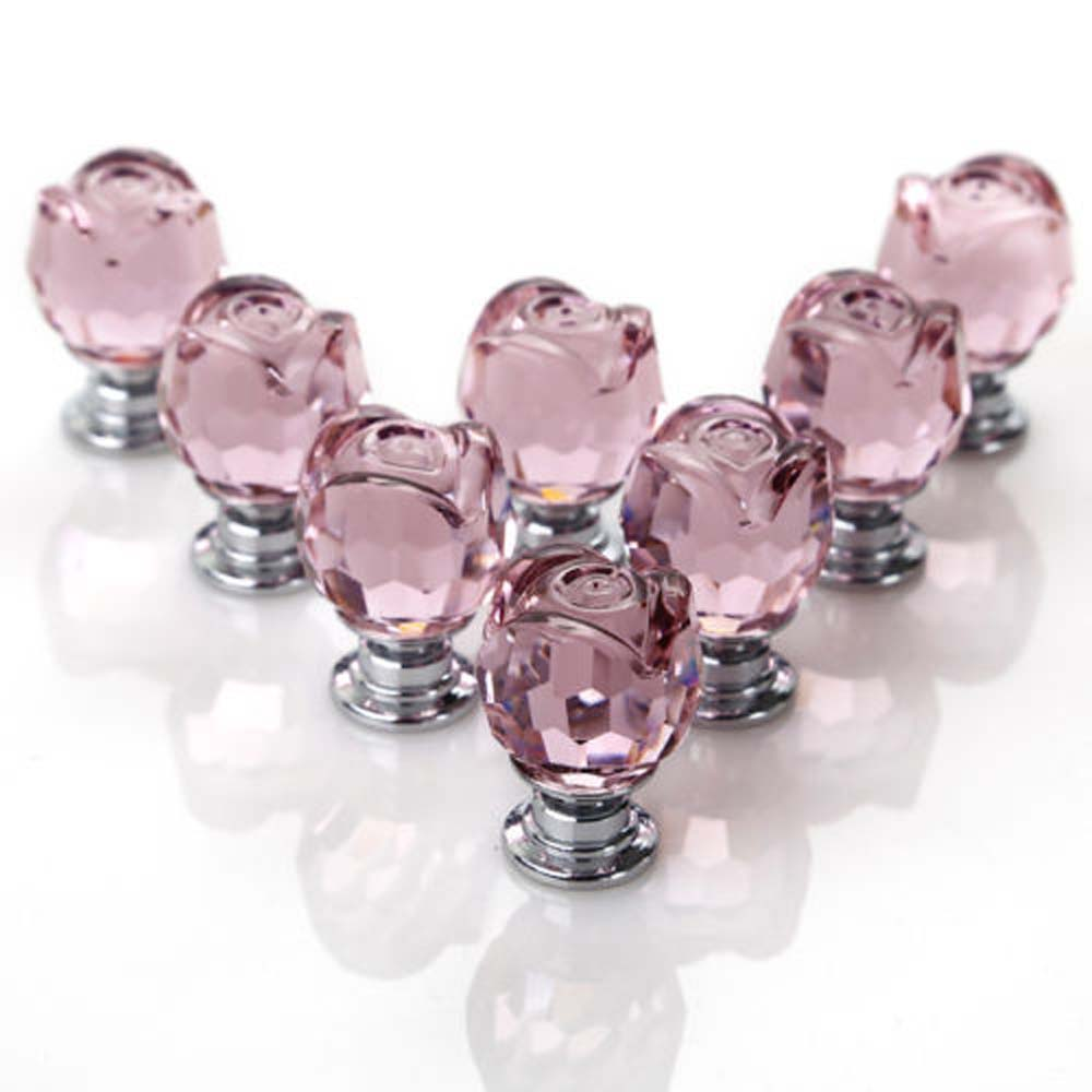 8 Pcs/Set Pink Rose Crystal Glass Door Knobs Kitchen