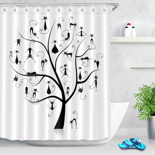 Lb Funny Black Family Cats Tree White Bathroom Shower Curtain Scenic