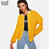 Dotfashion Striped Collar Fuzzy Autumn Jacket Women 2017 Stand Collar Zipper Woman Clothes Top Yellow Short Jacket