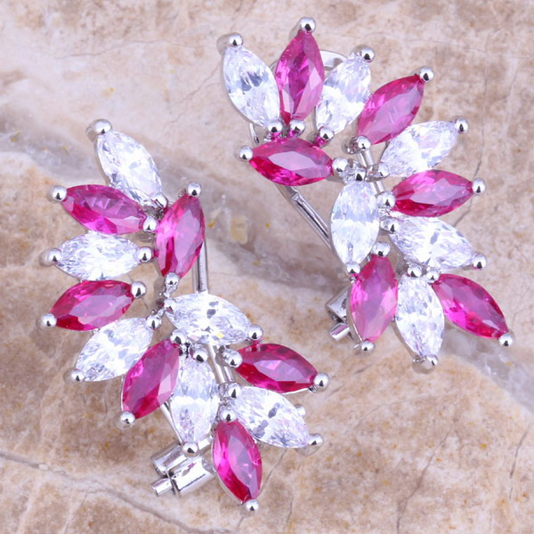 Stunning Red Cubic Zirconia White CZ Silver Plated Stamped 925 Clip Huggie Earrings  S0236
