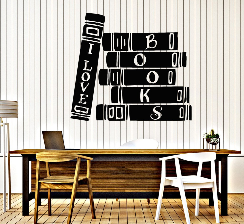 Home Decor Book Store Library Vinyl Wall Stickers Reader Books Bibliophile Wall Sticker Decor Study Wallpaper Waterproof Mural Sa220 Volume Large