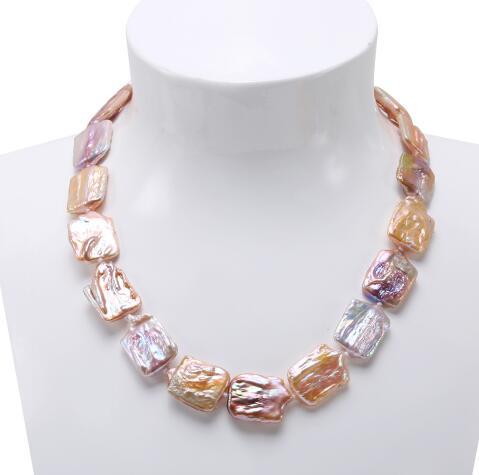 16.5x25-17x25mm collier de perles baroques lavande légère