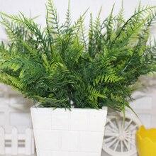 7 с длинным стволом искусственные спаржа папоротник трава высокого качества кустарник цветок Офис зеленый пластик декоративное растение