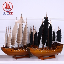 LUCKK 60CM Chinese Zheng Hes Voyages Wooden Model Ships Home Decoration Interior Wood For Craft Sea Style Assembling Classics
