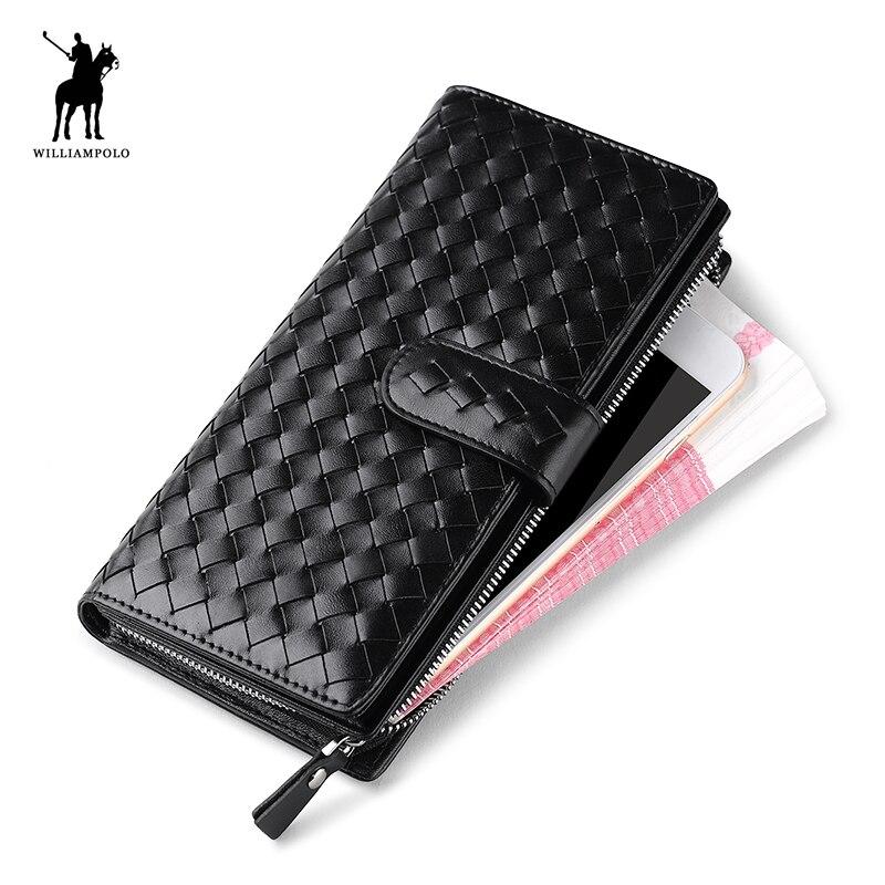 WilliamPOLO italie tricot exquis en cuir véritable portefeuille hommes magique portefeuille pochette portefeuille PL117 noir