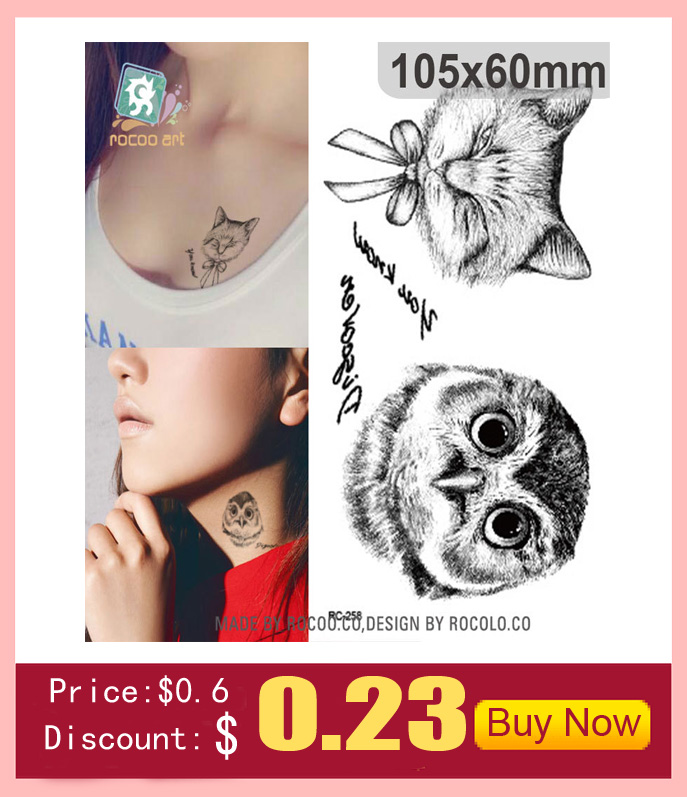 10 PCS Men Women Fake Tattoo sleeve Many cute animals Cat butterfly flower Body Art Flash Waterproof Temporary Tattoos Stickers 26