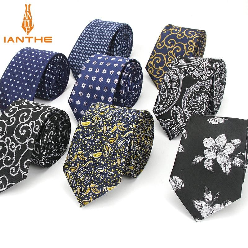 7CM Jacquard Paisley Navy Plaid Skinny Ties For Men Wedding Tie Slim Men Luxury Necktie Designers Fashion Kravat Dot Neckwear