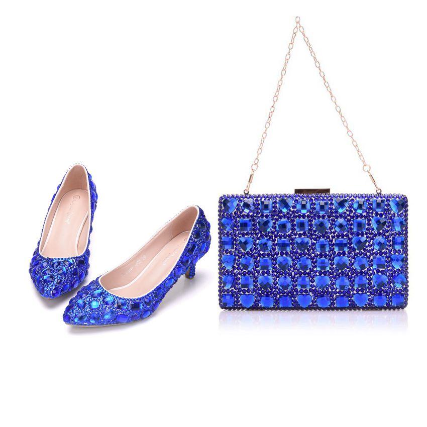 Reine Talons 5 Les Avec Chaussures Purse Femme Blue Cm Assortis De Hauts À Bleu Femmes forme Cristal Pompes Mariage Plate Cyrstal Sacs BdwZZf