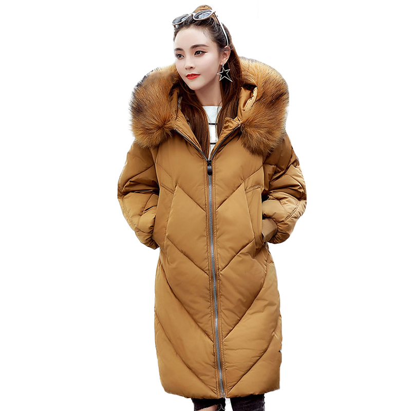 Women Winter Coat 2017 Fashion Hooded Fur Collar Hoody Long Parka Mujer Winter Warm Down Cotton Wadded Coat Quilted Jackets winter coat pu leather fur collar hooded warm cotton jacket women fashion padded parka medium long wadded parka mujer tt2880
