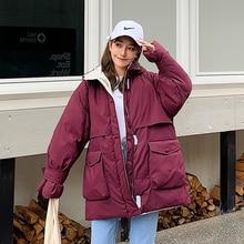 Brieuce women Short Parkas Loose Down Cotton Coats Winter Women Hooded Jackets Black Burgundy Snow Outwear