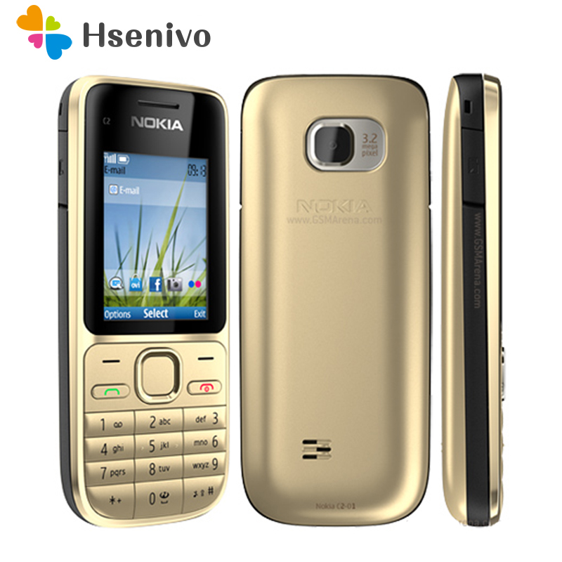 "100% Original Nokia C2-01 Unlocked Mobile Phone C2 2.0"" 3.2MP Bluetooth Russian&Hebrew Keyboard Refurbished GSM/WCDMA 3G Phone"