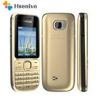 """100% d'origine Nokia C2-01 débloqué téléphone Mobile C2 2.0 """"3.2MP Bluetooth russe et hébreu clavier reconditionné GSM/WCDMA 3G téléphone"""