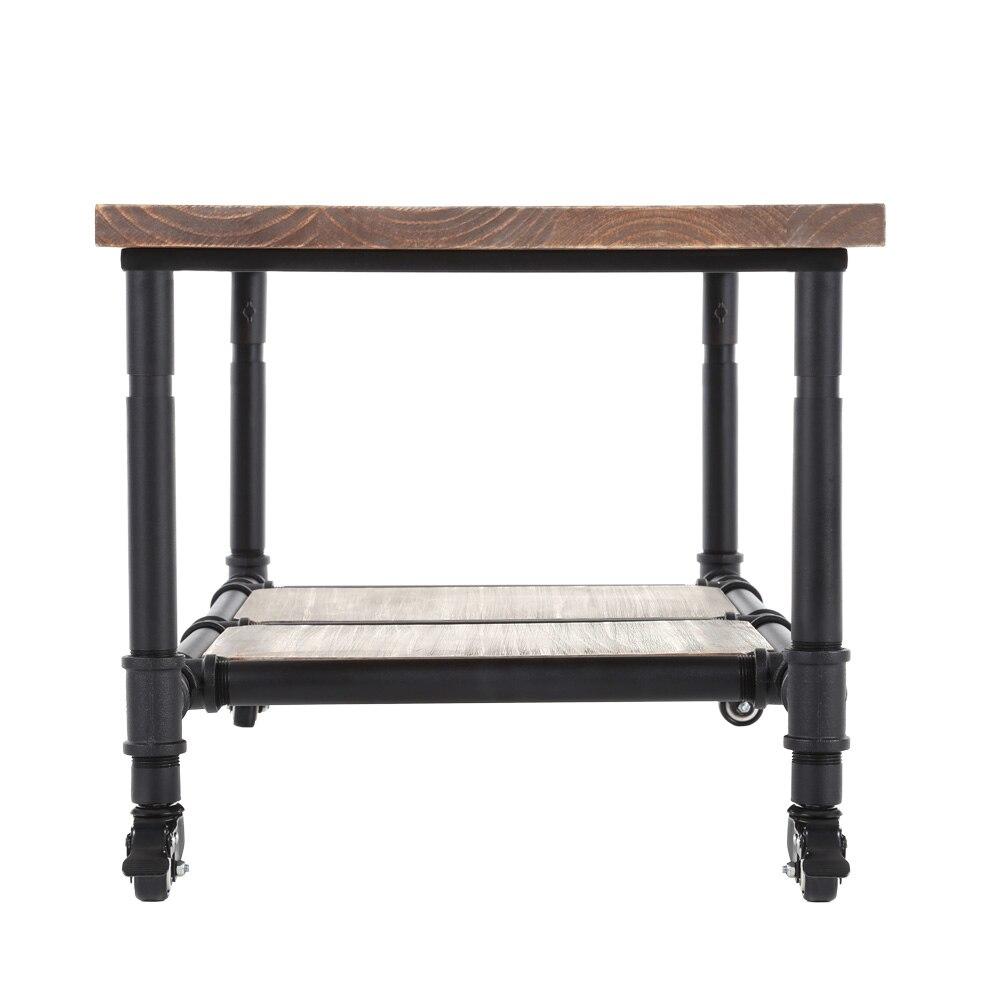 iKayaa Tea Coffee Table with Storage Steel Frame Natural Pinewood ...