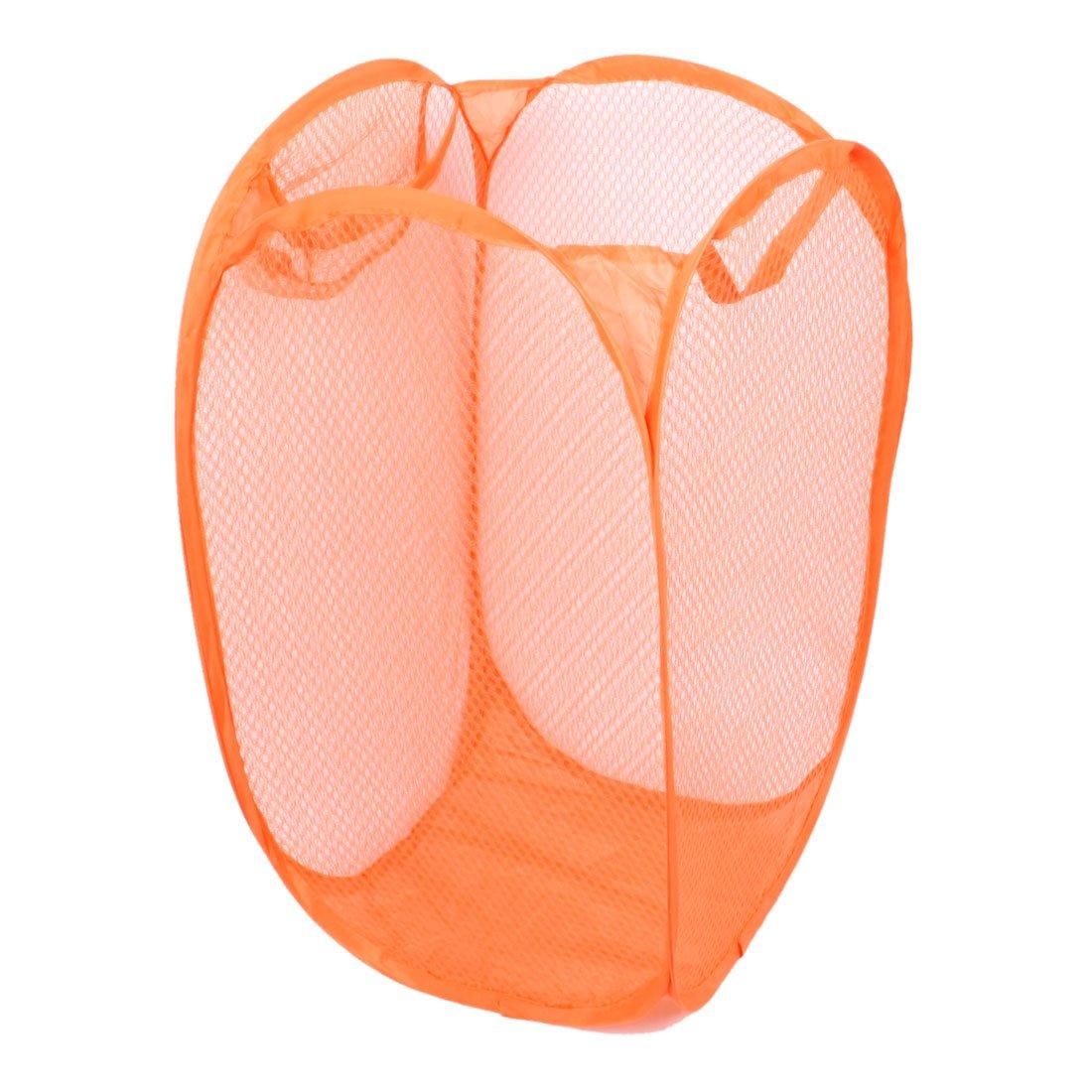 Household Dirty Clothes Laundry Folding Mesh Bag Basket Holder Orange
