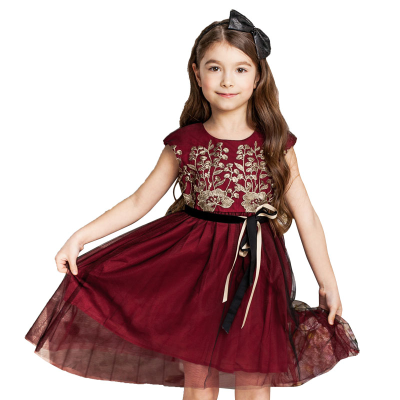 Bongawan Baby Girls Dresses Summer 2018 Kids Lace Princess Dress for Party and Wedding Toddler Girls Children Clothes 3-10 Y baby girls dress summer lace princess kids dresses for girls embroidered solid toddler costumes for party wedding child clothing