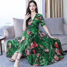 YICIYA Green Dresses Woman Party Night Plus Size for Big Women 2019 Chiffon Summer Print Floral Long Maxi Dress Elegant Clothes