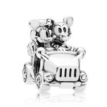 Punk Tibet Silver Color Mickey Mouse Car Charms Beads Fit Pandora Bracelets & Bangles for Women Tribal Jewelry DIY Bijoux Femme(China)