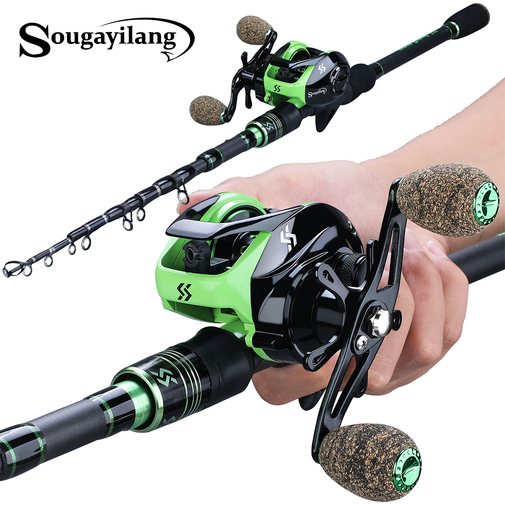 Sougayilang 1.8M 2.1M Casting Fishing Rods with 12+1BB 7.2:1 Baitcasting Reel Combo for Travel Freshwater Saltwater Fishing(China)
